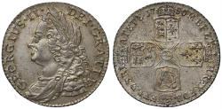 World Coins - George II 1750 Shilling, thin 0 in date, older head