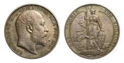 World Coins - Edward VII 1902 silver Florin, Britannia standing design