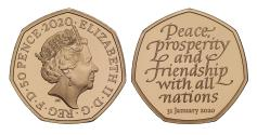 World Coins - * Elizabeth II 2020 gold proof Brexit Piedfort Fifty-Pence