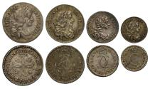 World Coins - Charles II 1672 Maundy Set, all coins with 2 over 1 overdate