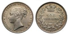 World Coins - Victoria 1842 Shilling with the clear error of D over F in F:D: extremely rare