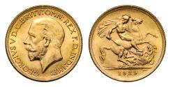 World Coins - George V 1929 P Sovereign, Perth Mint, small head