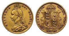 World Coins - Victoria 1890 Jubilee head Half-Sovereign London DISH L512 IEB low shield