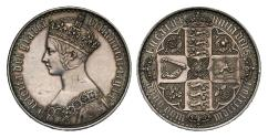 Ancient Coins - Victoria 1847 proof Gothic Crown, undecimo edge year