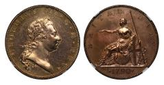 World Coins - George III 1790 brown gilt pattern Halfpenny PROOF DETAILS