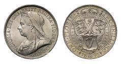 World Coins - Victoria 1893 Florin, older veiled head