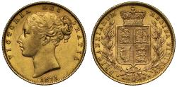 World Coins - Victoria 1871 Sovereign, die number 14, young head, shield reverse
