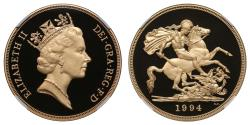 Ancient Coins - Elizabeth II 1994 proof Five-Pounds PF70 ULTRA CAMEO
