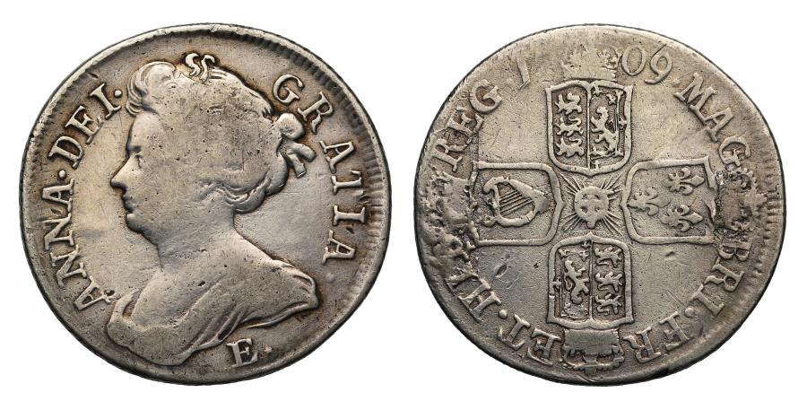 World Coins - Anne 1709 E* Shilling
