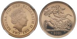 World Coins - Elizabeth II 2021 PF70 UCAM First Releases Half-Sovereign