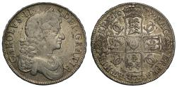 World Coins - Charles II 1677/6 Crown, with so-called Boar's head die flaw over head