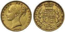 World Coins - Victoria 1853 Sovereign, WW incuse, rare