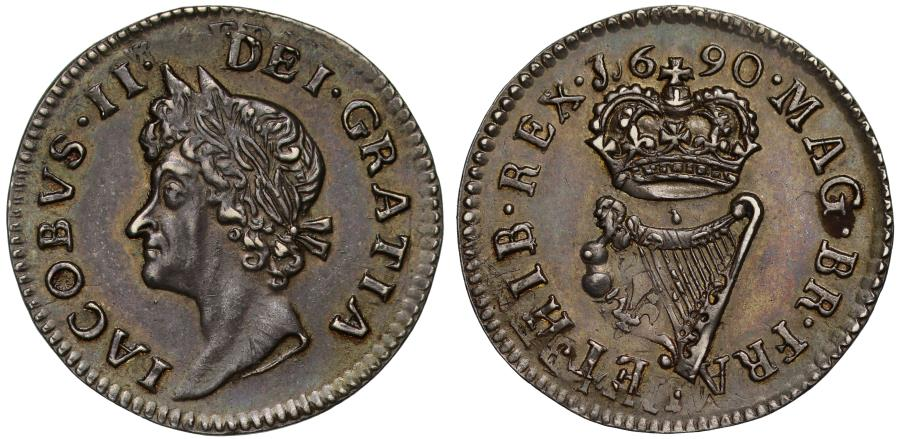 World Coins - Ireland, James II silver Proof Halfpenny 1690, over France Louis XIV 1/12th-Ecu