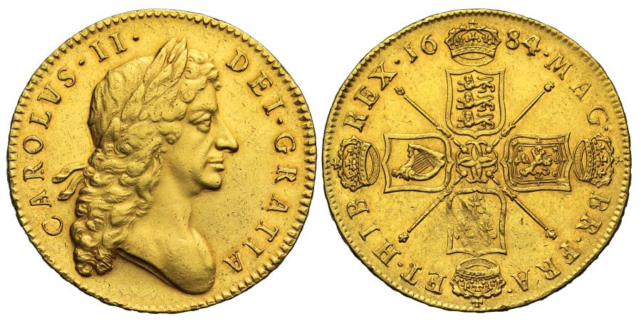 World Coins - Charles II 1684 Five Guineas overdate with 4 struck over 3, final date of reign