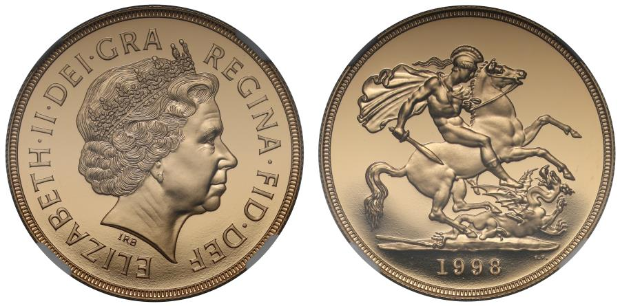 World Coins - Elizabeth II 1998 proof Five-Pounds PF70 ULTRA CAMEO