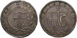 World Coins - Commonwealth 1651 silver Crown initial mark sun
