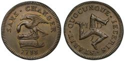 World Coins - Isle of Man, James Stanley, 1733 bronze Penny