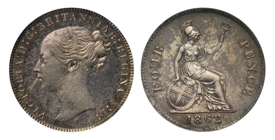 World Coins - Victoria 1862 proof Groat plain edge CGS UNC 90