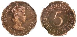 World Coins - Mauritius, copper Proof 5-Cents, 1964.