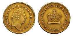 World Coins - George III 1799 Third-Guinea, one of the rarest dates