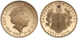 World Coins - Elizabeth II 2018 proof Five-Pounds - Elizabeth II Sapphire Coronation Jubilee