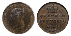 World Coins - Victoria 1868 bronze proof Quarter-Farthing CGS 85