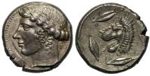 Ancient Coins - Sicily, Leontinoi, Silver Tetradrachm