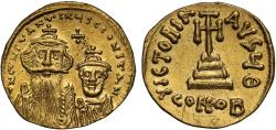Constans II and Constantine IV gold Solidus, Constantinople