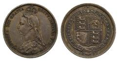 Ancient Coins - Victoria 1887 Sixpence, withdrawn type, J.E.B. on truncation R3