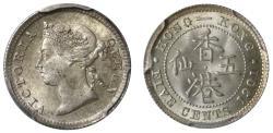 World Coins - Hong Kong 5-Cents, 1901.