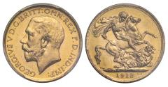 World Coins - George V 1912 Melbourne Sovereign, graded MS64