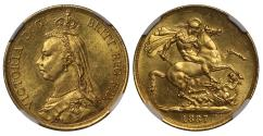 World Coins - Victoria 1887 proof Two-Pounds MS63, taller date larger BP