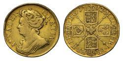 World Coins - Anne 1712 Guinea third bust
