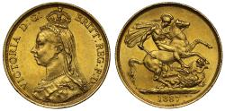 World Coins - Victoria 1887 gold Two-Pounds