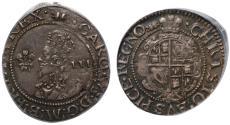 World Coins - Charles I Threepence Aberystwyth mint AU50
