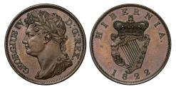 World Coins - Ireland, George IV 1822 proof Penny