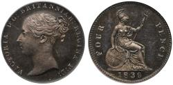 World Coins - Victoria 1839 silver Proof Groat inverted die axis