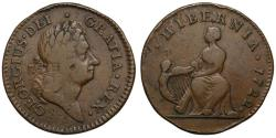 World Coins - Ireland, George I William Wood's coinage, 1722 Halfpenny, type I