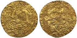 World Coins - Edward IV Rose Ryal Light Coinage Bristol Mint, B in waves, mint mark crown