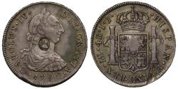World Coins - George III oval countermark on Peru 1790 IJ 4-Reales, Lima mint