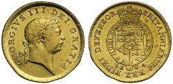 World Coins - George III 1804 Half-Guinea, first year for second type with seventh head