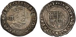 World Coins - James I Shilling, 3rd coinage, 6th bust, mint mark thistle