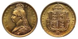 World Coins - Victoria 1887 Jubilee head Half-Sovereign Melbourne DISH M502 R4 MS61
