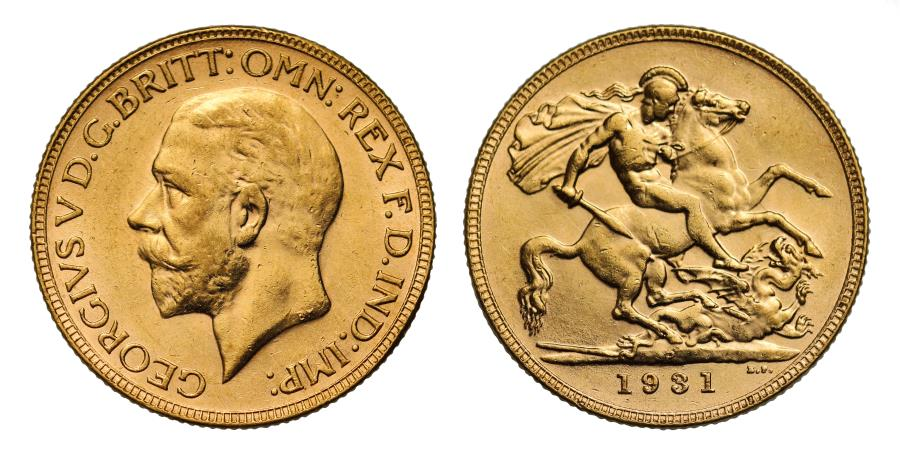 World Coins - George V 1931 P Sovereign, Perth Mint, final year for small head Sovereign