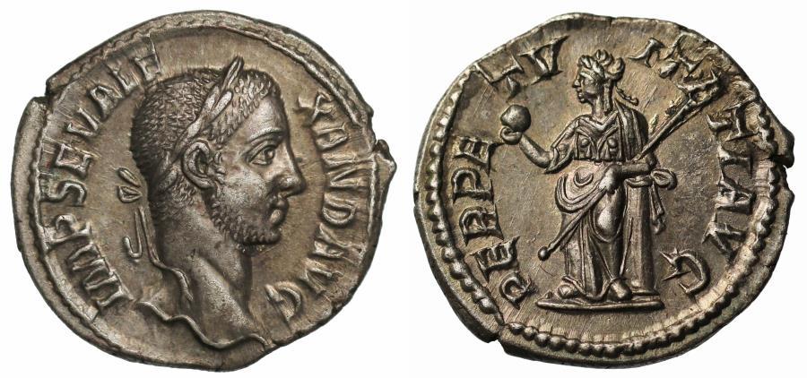 Ancient Coins - Severus Alexander, Silver Denarius