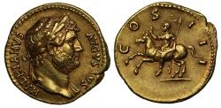 Ancient Coins - Hadrian, Gold Aureus, Rome mint, NGC AU*