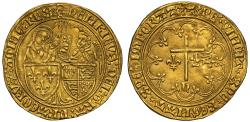 World Coins - Anglo Gallic, Henry VI Salut d'Or, Le Mans mint, mint mark root