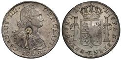 World Coins - George III oval countermark on Chile 1794 DA 8-Reales, Santiago mint