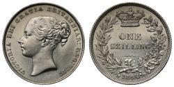 World Coins - Victoria Shilling 1854, very rare date