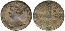 World Coins - Anne 1712 Halfcrown, roses and plumes reverse